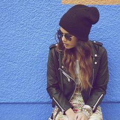 Mini, leather, beanie, shades. Edgy sexy.