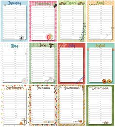Lovely Free Calendar tags 6x4 from griffithsrated.blogspot.co.nz  g*rated: Perpetual Birthday Calendar w/Printable
