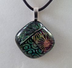 Multi-color Dichroic Glass Pendant by ZacInTheBoxCreations on Etsy