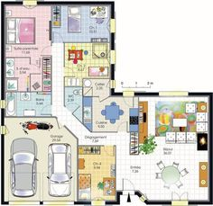 Fine Plan Maison Plain Pied 4 Chambres that you must know, You?re in good company if you?re looking for Plan Maison Plain Pied 4 Chambres The Plan, How To Plan, Door Design, House Design, L Shaped House, Villa Plan, Double Garage, Concept Home, Architecture Plan