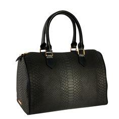 Gigi New York Leather Python Embossed Black Speedy Barrel Bag