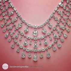 Repost from @davidmorrisjeweller A pretty necklace made up of fancy shaped #diamonds