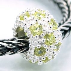""".925 Sterling Silver """" Textured Rondelle w/ Lt Yellow Green Cubic Zirconia """" Charm Bead Compatible with Pandora Chamilia Kay Troll Bracelet"""