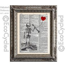 An illustration from the 1500's of a child size human skeleton (about 1.5 years old), holding an adult femur, holding a heart balloon. It is printed over a lovingly upcycled book art page.