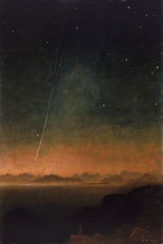 Painting by Charles Piazzi Smyth. The Great Comet of oil on canvas Nocturne, The Great Comet, Aesthetic Art, Astronomy, Art Inspo, Painting & Drawing, Oil On Canvas, Cool Art, Art Photography