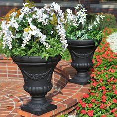 Outdoor Cavier Black Round Resin Festonada Urn Planter - Set of 2 Black Planters, Urn Planters, Outdoor Planters, Outdoor Decor, Garden Urns, Garden Yard Ideas, Window Box Flowers, Flower Boxes, Container Plants