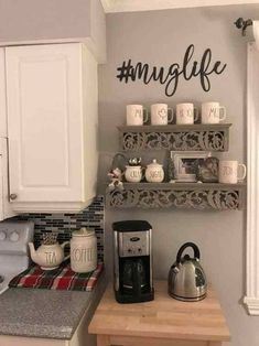 30 Best Home Coffee Bar Ideas for All Coffee Lovers coffee kitchen decor - Kitchen Decoration Coffee Bars In Kitchen, Coffee Bar Home, Home Coffee Stations, New Kitchen, Beverage Stations, Awesome Kitchen, Kitchen Ideas, Coffee Kitchen Decor, Coffee Station Kitchen