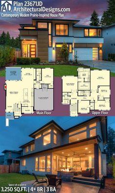 3250 sq ft, main floor guest suite, 4 beds up +bonus space Sims House Plans, Dream House Plans, House Floor Plans, Contemporary House Plans, Modern House Plans, Modern House Design, Modern Floor Plans, Prairie House, Architecture Plan