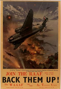 "Australian WWII recruitment poster for the RAAF and the WAAF. ""Join the RAAF, Back Them Up!"""