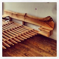Live edge bed headboard (matching footboard out of shot.)