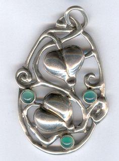 Theodor Fahrner Pendant – Silver and Chyrsoprase Art Nouveau