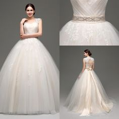 WAJY Women's Crystal Beaded Tulle Ball Gown Wedding Dresses For ...