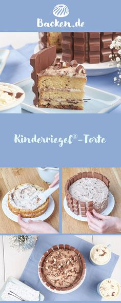 Mit diesem raffinierten Rezept werden Kinderriegel® zur Torte: Ein himmlisch sc… Kinderriegel® becomes a cake with this sophisticated recipe: a heavenly chocolate treat that will delight young and old alike. Easy Vanilla Cake Recipe, Chocolate Cake Recipe Easy, Chocolate Cookie Recipes, Chocolate Treats, Homemade Chocolate, Chocolate Chip Cookies, Cake Chocolate, Easy Cheesecake Recipes, Cake Mix Recipes