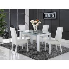 Shop for White Solid Wood Glass-top Dining Table. Get free shipping at Overstock.com - Your Online Furniture Outlet Store! Get 5% in rewards with Club O! - 16353463