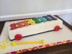 Old Toy, xylaphone, baby shower pull toy cake