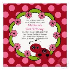 Sweet Red & Pink Ladybugs Birthday Invitation - #Ladybugs #Announcement  http://www.squidoo.com/ladybuginvitationsforbabyshowerandbirthdays
