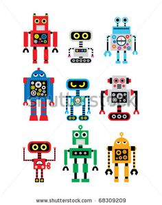 robots templates | cute robot doodle collection stock image