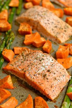 This One Pan Baked Salmon Asparagus and Sweet Potato is perfectly baked on a single pan for an EASY and filling dinner. A gluten free and low calorie meal.