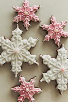 Pink and white snowflake cookies