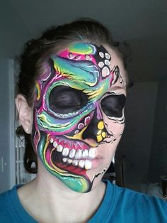 Color skull face paint glow in the dark