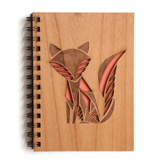 Patchwork Fox Journal   Laser engraved cut wood journal notebook