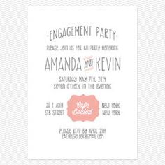Simple Seal Engagement Party Invitations