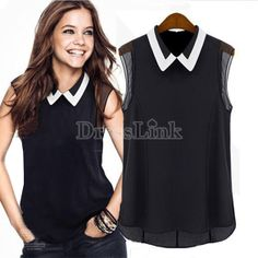 Women's Celeb Style Splicing Color Slim Fitted Summer Chiffon Sweet Shirt Tops Blouse S/M/L/XL