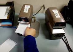 Many bureau employees manually enter data the same way that they have for decades, with stamp machines and other low-tech equipment. Records Management, Index Cards, Ny Times, Usb Flash Drive, Tech, Stamp, Note Cards, Stamps, Technology