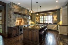 Beautiful stone and timber kitchen with wood like floor tile.
