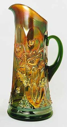 Northwood's Dandelion tankard, Oriental Poppy displays large poppies wrapping around both sides of the pitcher. Tea Sets Vintage, Vintage Dishes, Cranberry Glass, Antique Glassware, Popular Art, Vintage Bottles, Carnivals, Glass Pitchers, Fenton Glass