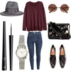 Look # 52- Fall Outfit Idea-Fine-knit Sweater- Skinny High Jeans-Leather Loafers- Round Sunglasses-Wool Hat-Liquid Eyeliner   Style Spacez