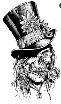 Top skulls n sugar skulls tattoos, tattoo drawings ve Tattoo Design Drawings, Skull Tattoo Design, Tattoo Sketches, Art Sketches, Art Drawings, Tattoo Designs, Skull Design, Body Art Tattoos, Sleeve Tattoos