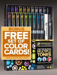 Chameleon Pens- 22 pen Deluxe Set with BONUS Color Card set with FREE priority shipping
