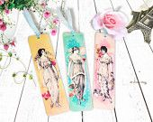 Set of 3 Vintage Ladies Fashion with Watercolor Background Design Wooden Bookmarks, Vintage Misses Fashion Wooden Tags, Decoupage Bookmarks