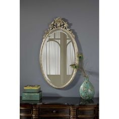 Hickory Manor House Oval Flower Basket Mirror in Shimmer