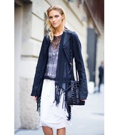 @Who What Wear - Tip 2: Layer Like You Mean It.                 If Anja Rubik managed to get an impressive four layers into her spring ensemble, we can at least swing three. Sheer pieces like Rubik's mesh top and tasseled vest are key for a slim silhouette.  Get The Look: Jonathan Simkhai Mesh Tank ($255)  Photo courtesy of Gastro Chic