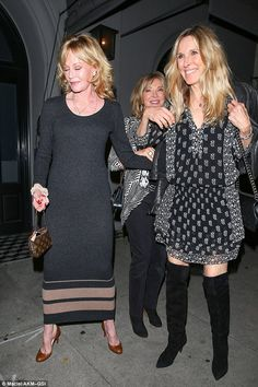 Party pals: Melanie Griffith, 58, and Alana Stewart, 70, decided to let their hair down with a girls' night out in West Hollywood