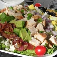 Cobb Salad- Use turkey bacon, romaine lettuce, and feta cheese to make this a little healthier. Also either use oil and vinegar or homemade clean eating ranch for dressing
