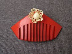Antique 1930s Creamy Filligre Flower Red Celluloid Miniature Hair Comb for Dolls | eBay