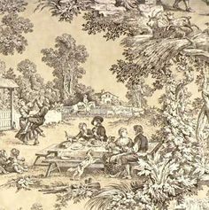 """Love """"toile"""" - bought a bunch of this fabric to make new window treatments for my downstairs.  This print really describes my style as far as interior decorating goes.  I love French Provincial.  I just need a big pile of money and I would re-decorate my whole house around this print!"""