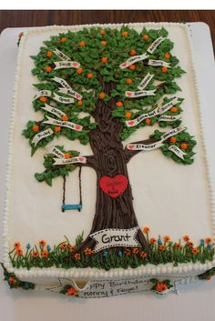 """Family Tree Birthday Cake (Inspired by """"angllfish"""" on Cake Central)"""