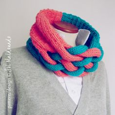 Cowl knit pattern neckwarmer Weave pdf - winter trendy cool MEN accessories PHOTO tutorial knitting pattern. $6.00, via Etsy.