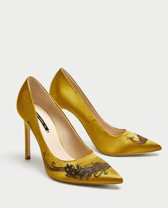 ZARA - WOMAN - SATIN COURT SHOES WITH EMBROIDERED BEADING