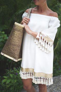 TRAVEL GUIDE: THE RITZ CARLTON, CANCUN MEXICO - Styled Snapshots, tassel dress, BHLDN, honeymoon style