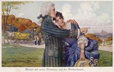 Моцарт и Констанция во время своего медового месяца. Открытка XIX века