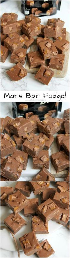 Delicious and Easy Mars Bar Fudge with chunks of Mars Bar throughout. No Boiling or Sugar Thermometers, just quick and easy fudge for all Mars Bar Lovers! (recipes with marshmallows fudge) No Bake Treats, Yummy Treats, Delicious Desserts, Sweet Treats, Yummy Food, Delicious Chocolate, Fudge Recipes, Candy Recipes, Sweet Recipes