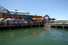 Mandurah Marina; a great place for Sunday breakfast where you might catch a dolphin or two.