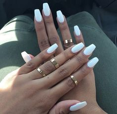 white nails + midi rings