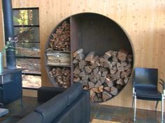 You need a indoor firewood storage? Here is a some creative firewood storage ideas for indoors. Lots of great building tutorials and DIY-friendly inspirations! Indoor Firewood Rack, Firewood Holder, Firewood Storage, Diy Fireplace, Fireplaces, Into The Woods, Diy Network, Wood Boxes, Outdoor Storage
