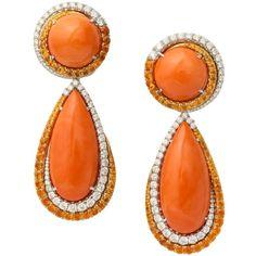 Coral diamond garnet drop earrings